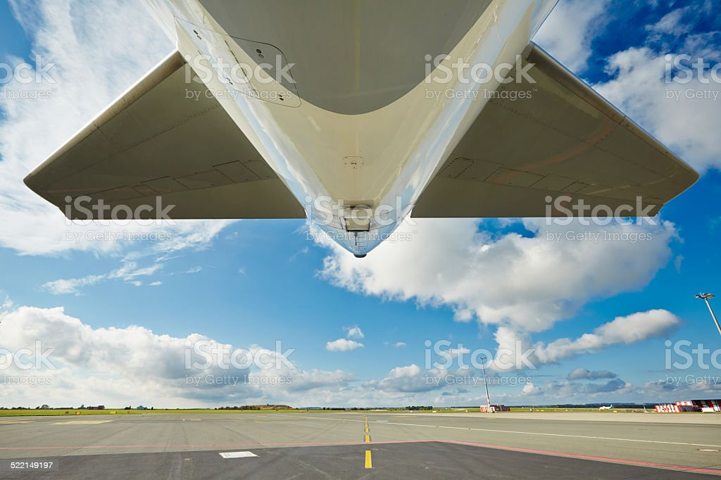 Aircraft on the taxiway stock photo