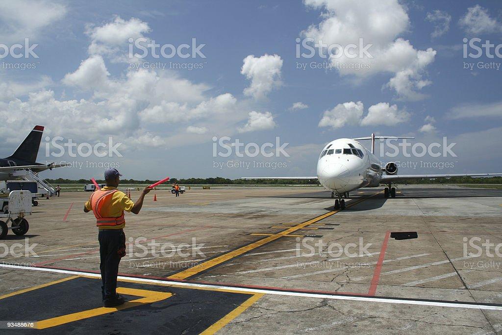Aircraft parking at airport terminal stock photo