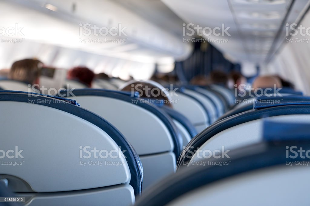 Aircraft Passenger Cabin stock photo