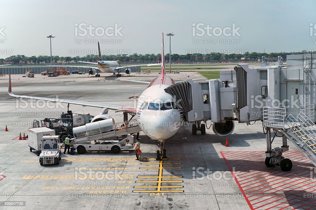 Aircraft preparing to depart stock photo
