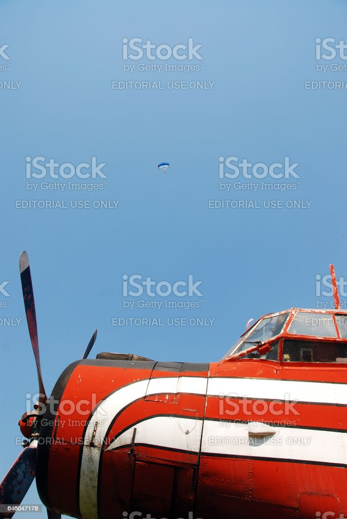 Aircraft propeller, plane on the airfield, Iasi County, Romania stock photo