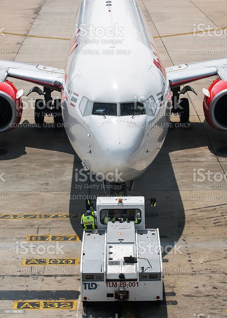 Aircraft ready to go stock photo