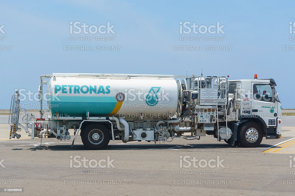 Aircraft refueling tanker lorry stock photo