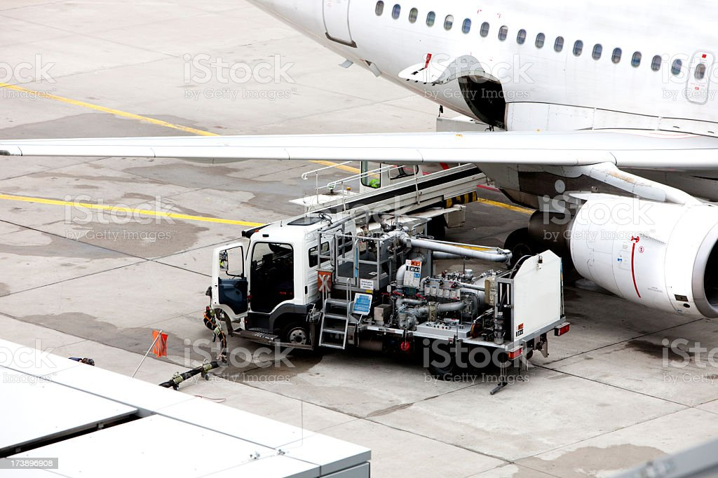 Aircraft refuelling royalty-free stock photo