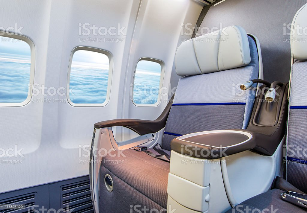 Aircraft seats and windows stock photo