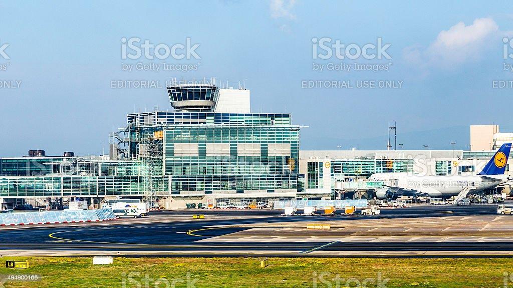 Aircraft standing near the terminal 1 at Frankfurt Main airport stock photo