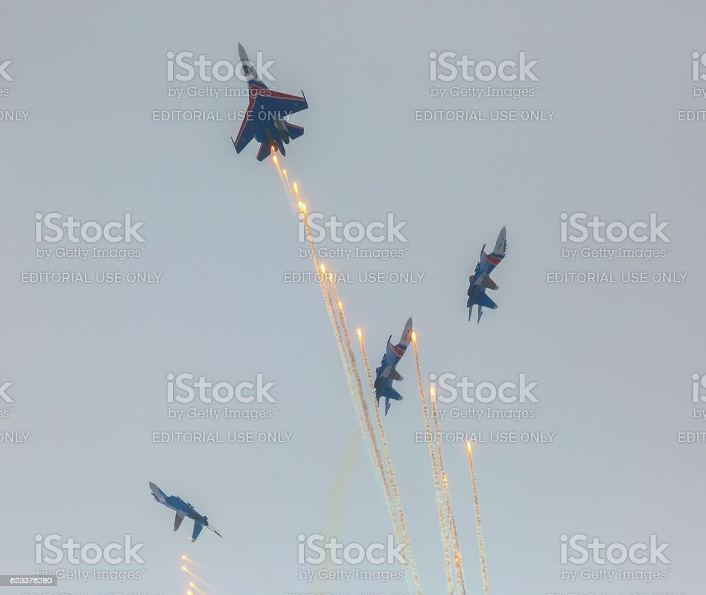 Aircraft Sukhoi Su-27 of the Military Air forces Russia stock photo