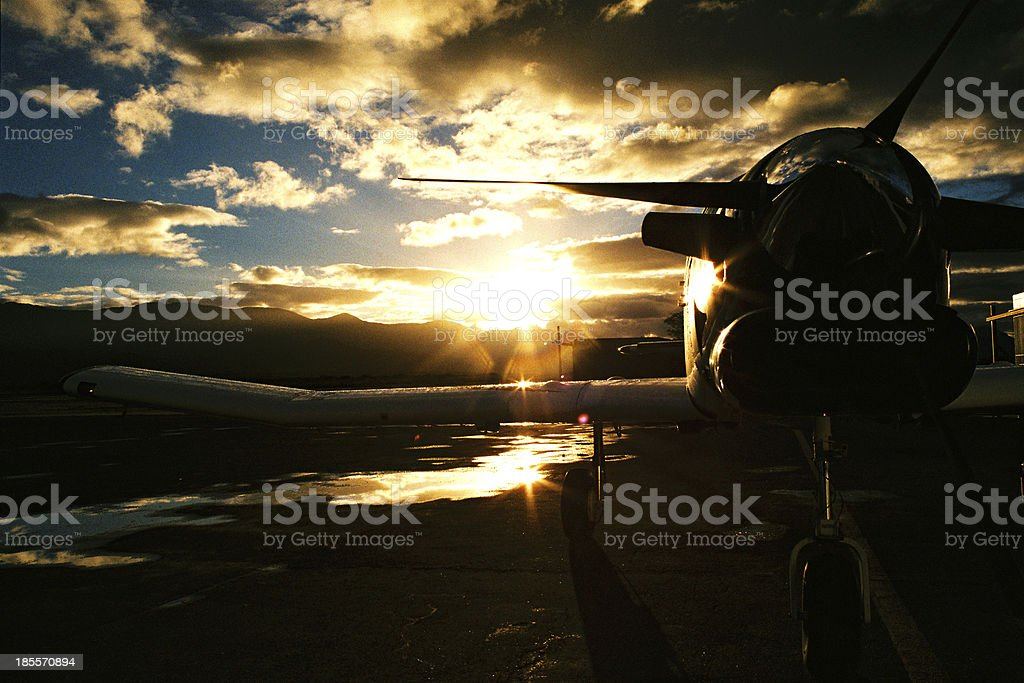 Aircraft sunset royalty-free stock photo