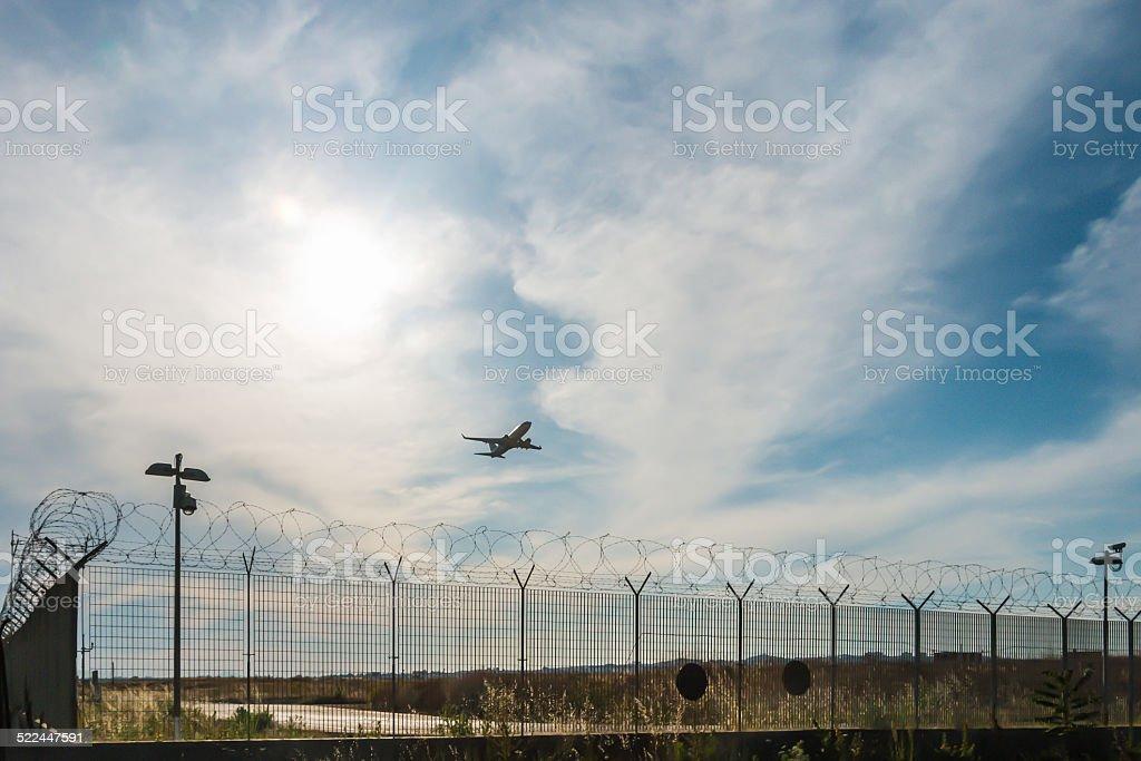 Aircraft takeoff stock photo