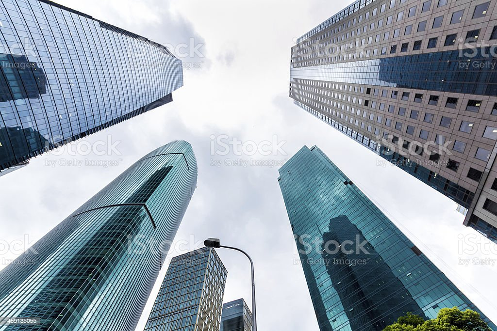 Aircraft through the office, in Shanghai, China stock photo