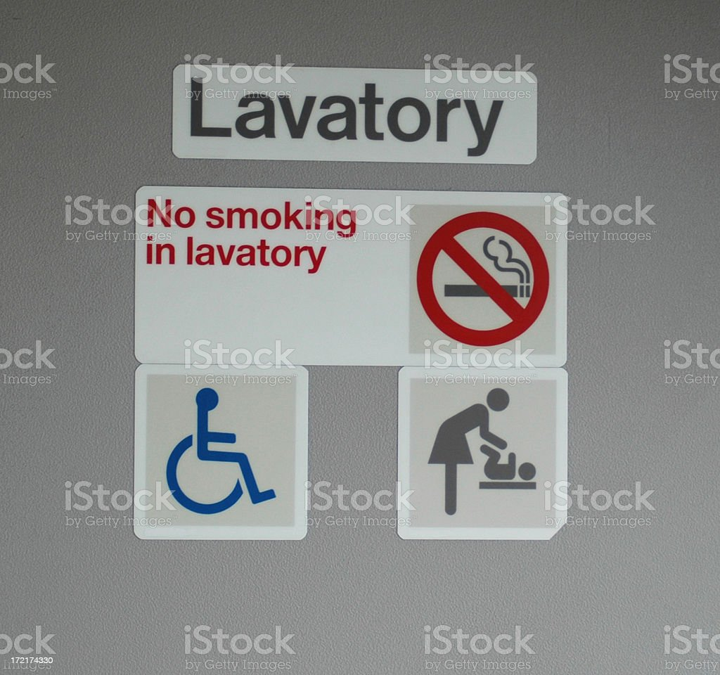 Aircraft Toilet Door stock photo