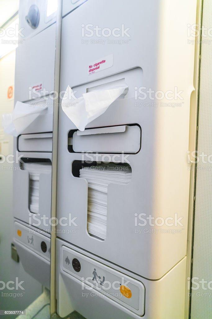 Aircraft toilets stock photo