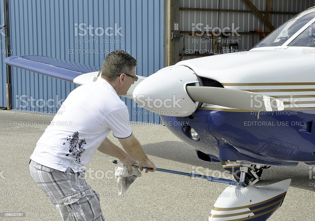 Aircraft tow royalty-free stock photo