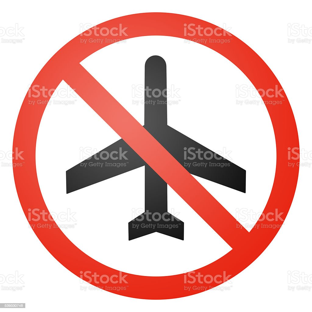 Aircraft traffic sign, round, crossed out stock photo