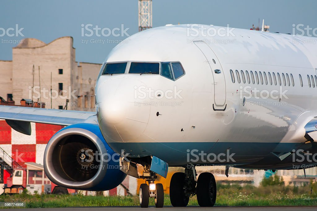 Aircraft turns on runway royalty-free stock photo