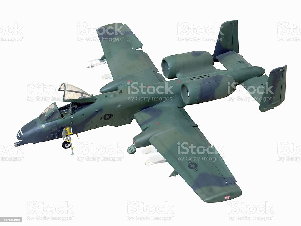 Aircraft USAF Warthog A-10 Model (with path) stock photo