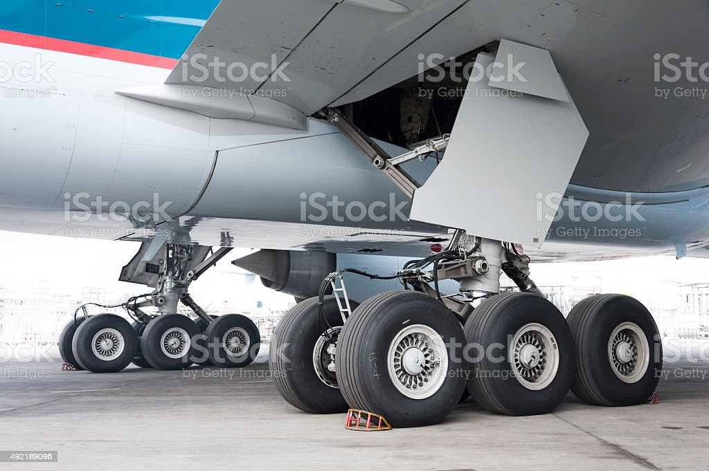 aircraft wheel stock photo