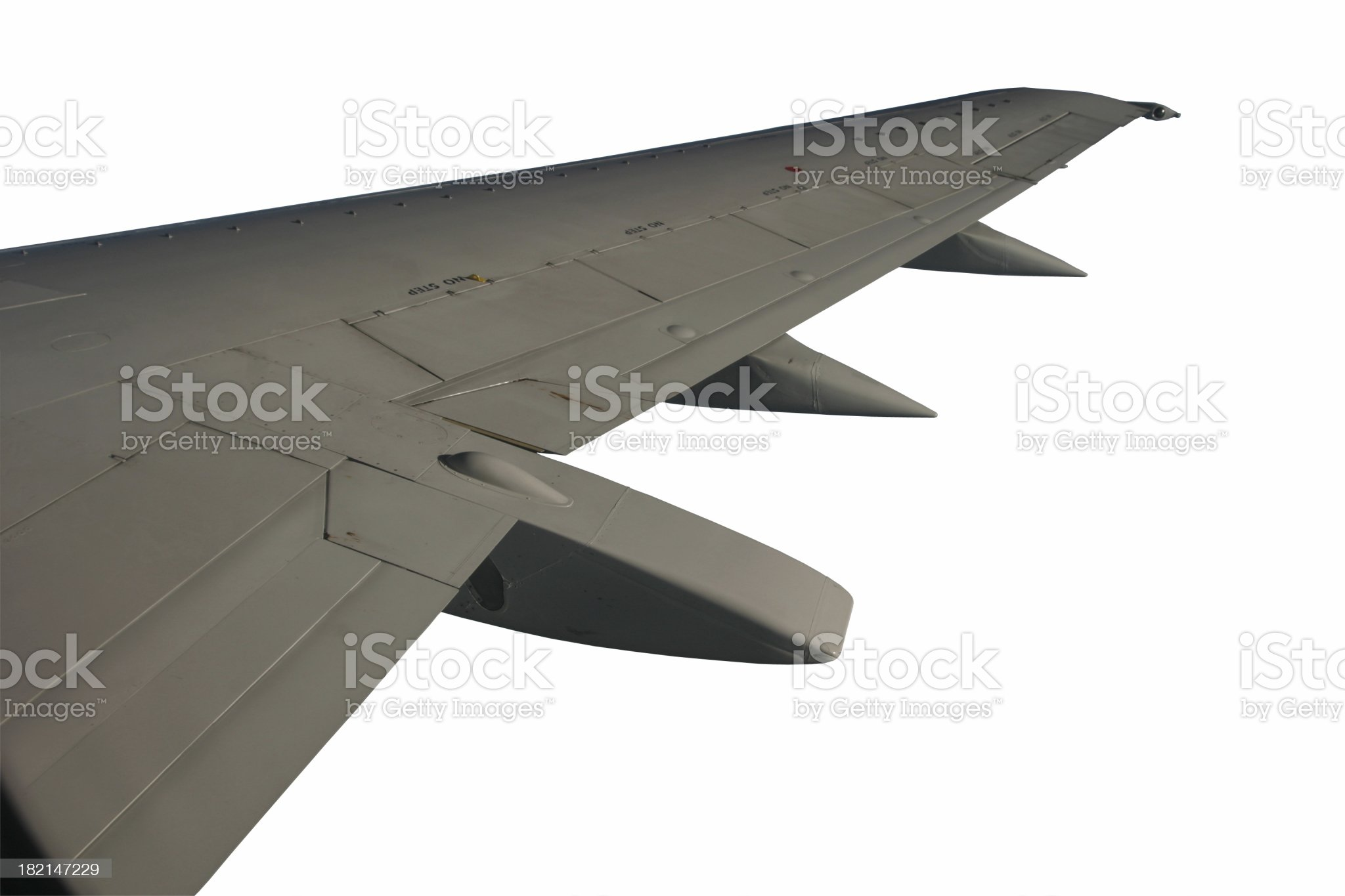 Aircraft wing isolated on white background royalty-free stock photo