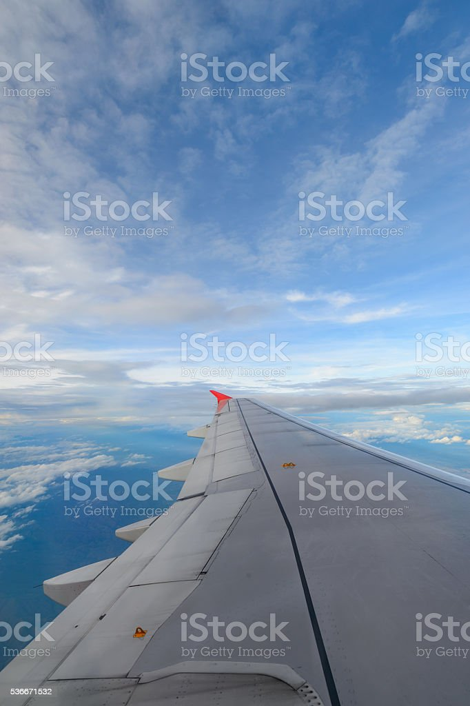 Aircraft wing on the clouds,flying background stock photo