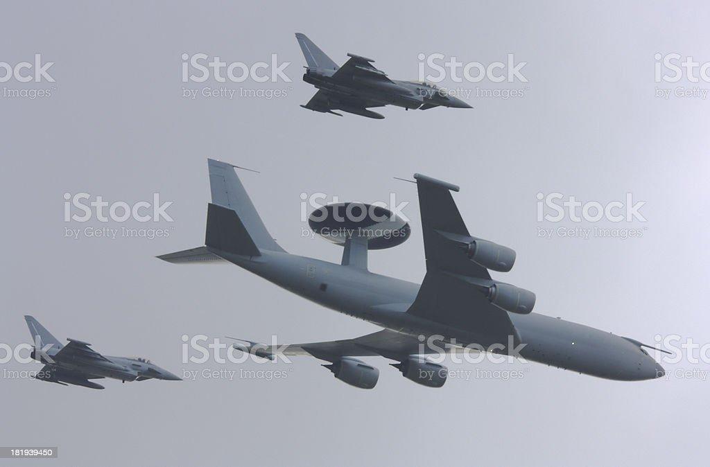 AWACS aircraft with Eurofighter escorts stock photo