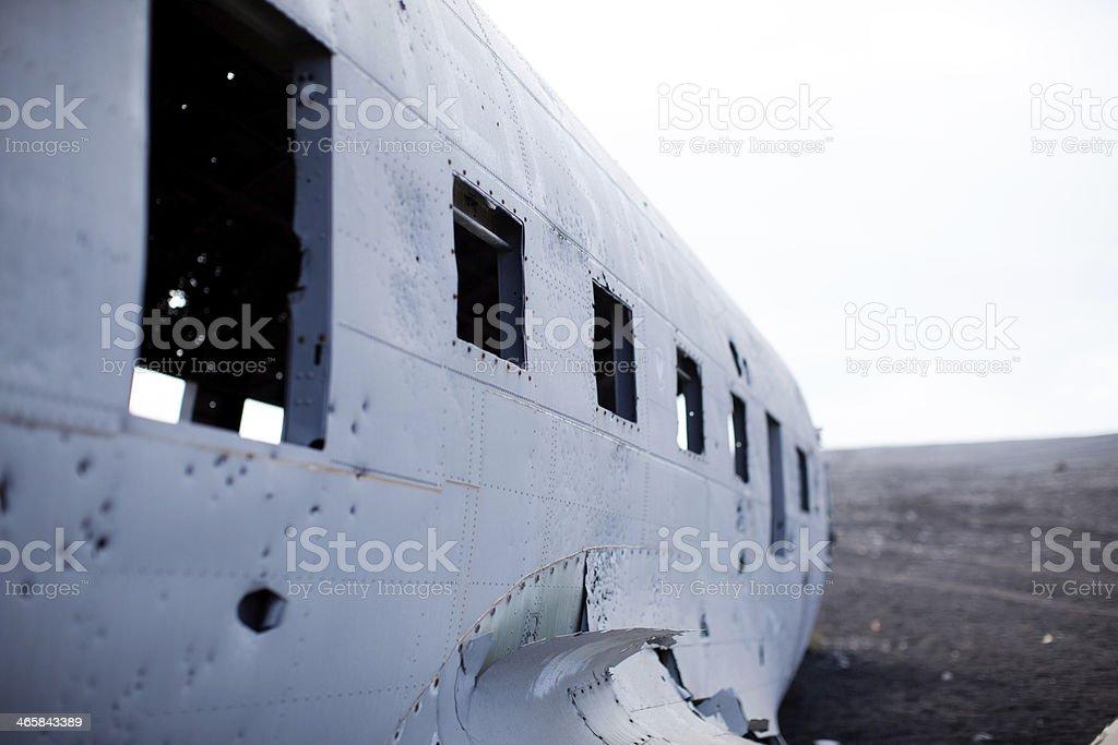 Aircraft Wreck Window Detail - Solheimasandur Iceland Plane Crash royalty-free stock photo