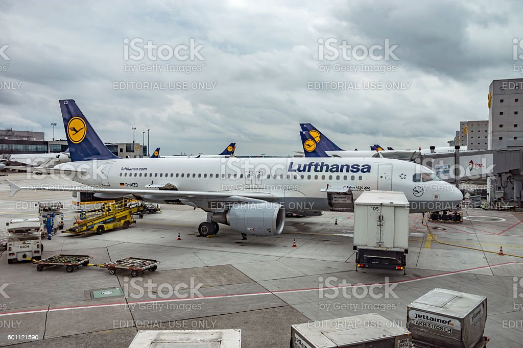 Aircrafts at the Frankfurt International Airport stock photo