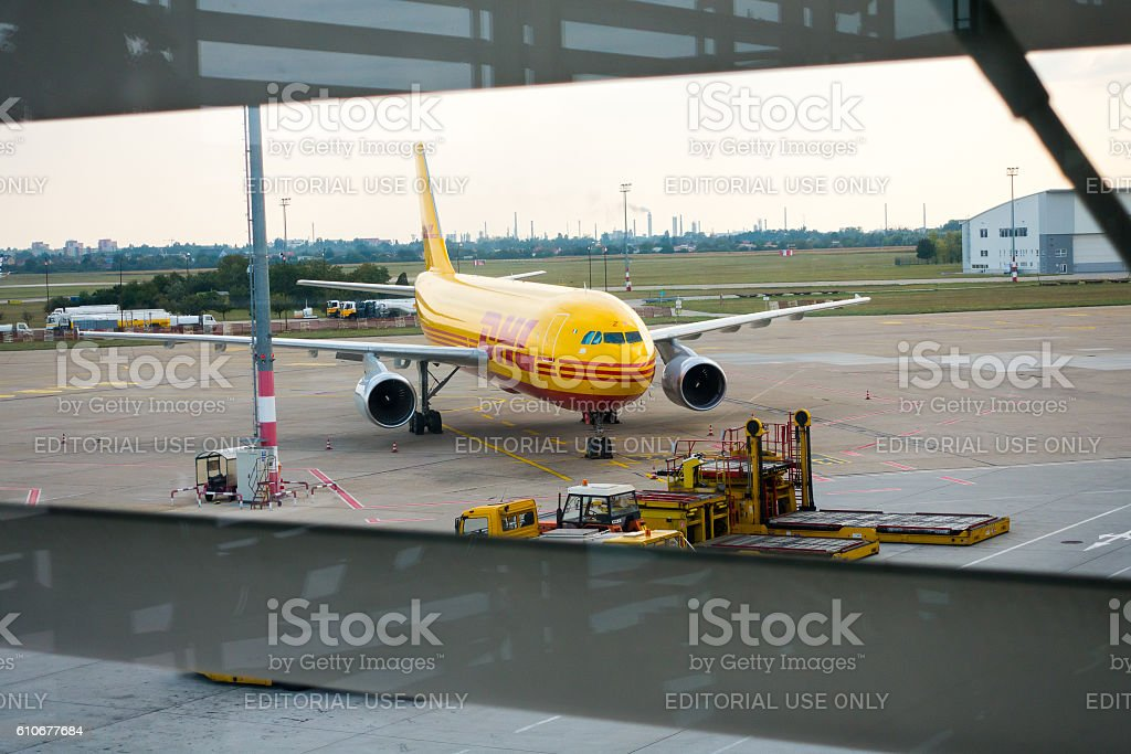 Aircrafts of DHL logistic company stock photo