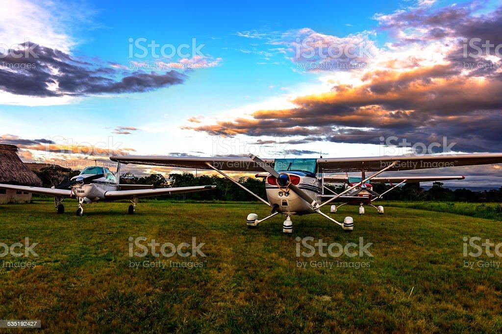 Aircrafts parked at Uruyen stock photo