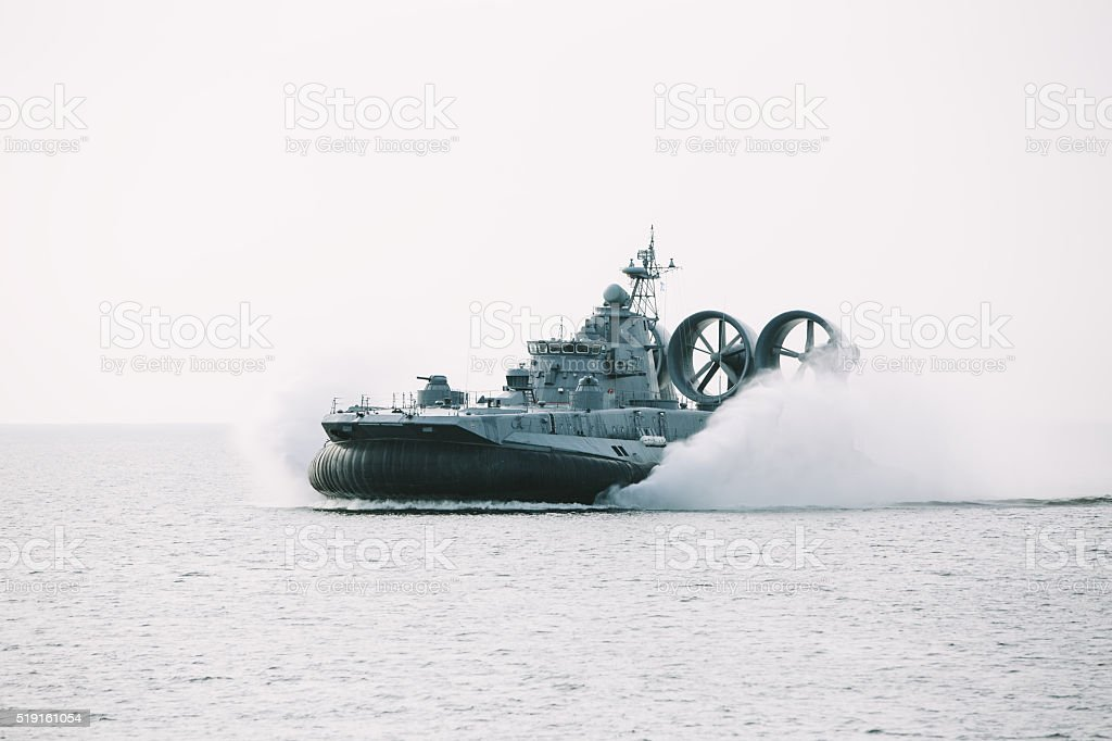Air-cushioned landing craft (hovercraft) Zubr stock photo