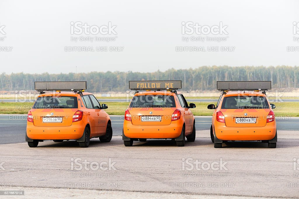 Airdrome car Follow Me at Domodedovo airport stock photo