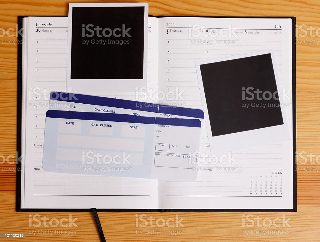 Airflight tickets, agenda and photos royalty-free stock photo