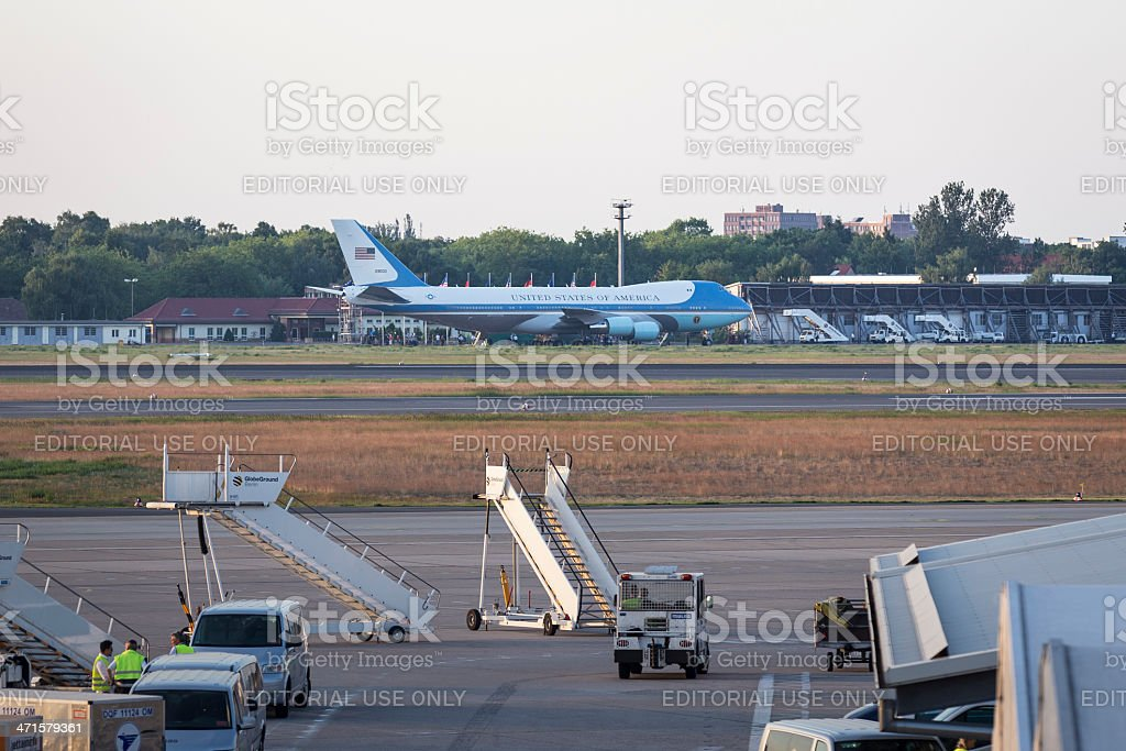 Airforce One at Berlin Tegel Airport royalty-free stock photo