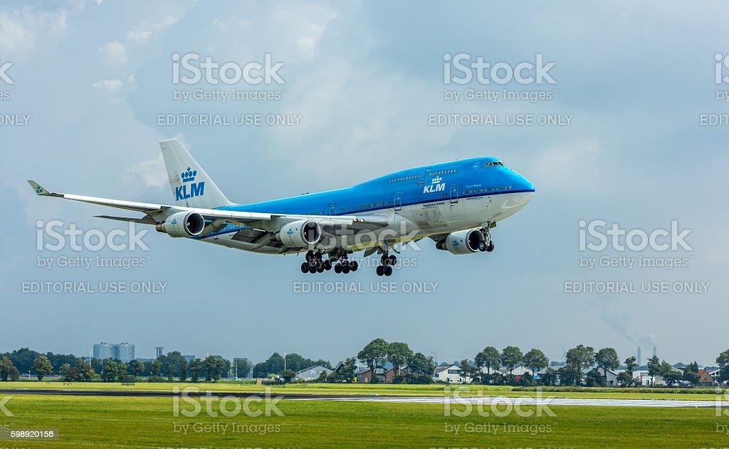 KLM Airfrance 747 passenger aircraft landing stock photo