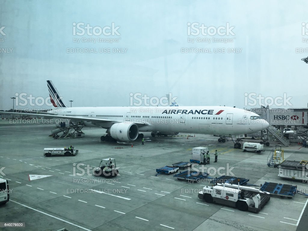airfrance commercial airplane parked in Houston stock photo