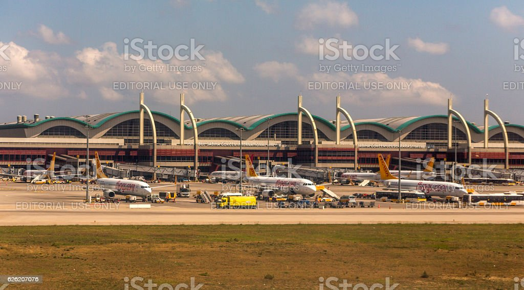 airline airplanes are at sabiha-gokcen airport istanbul turkey stock photo