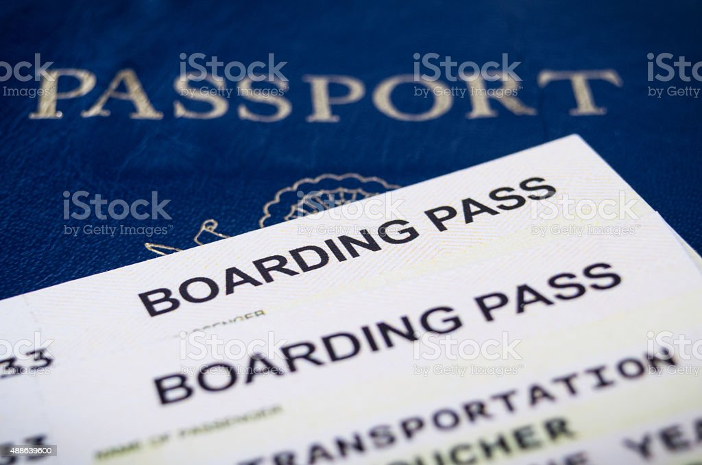 Airline boarding pass stock photo
