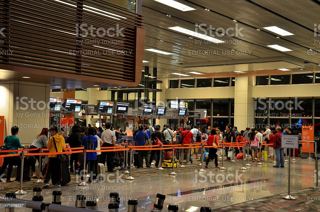 Airline check in counter at Singapore Changi Airport royalty-free stock photo