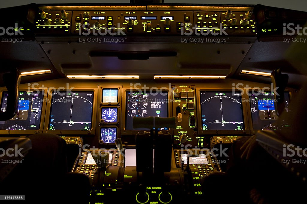 Airline Cockpit at Night royalty-free stock photo