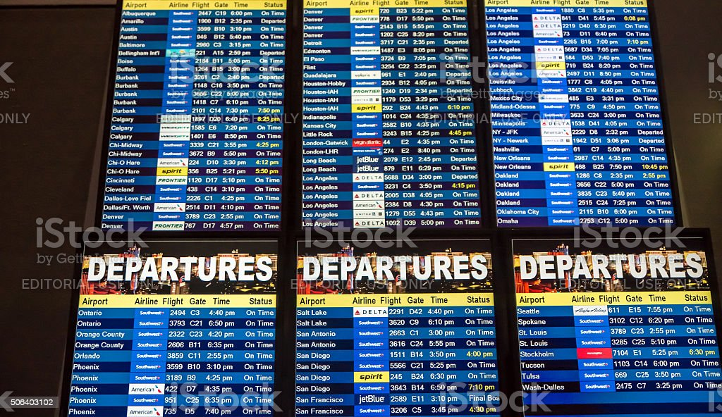 Airline Departure Board stock photo
