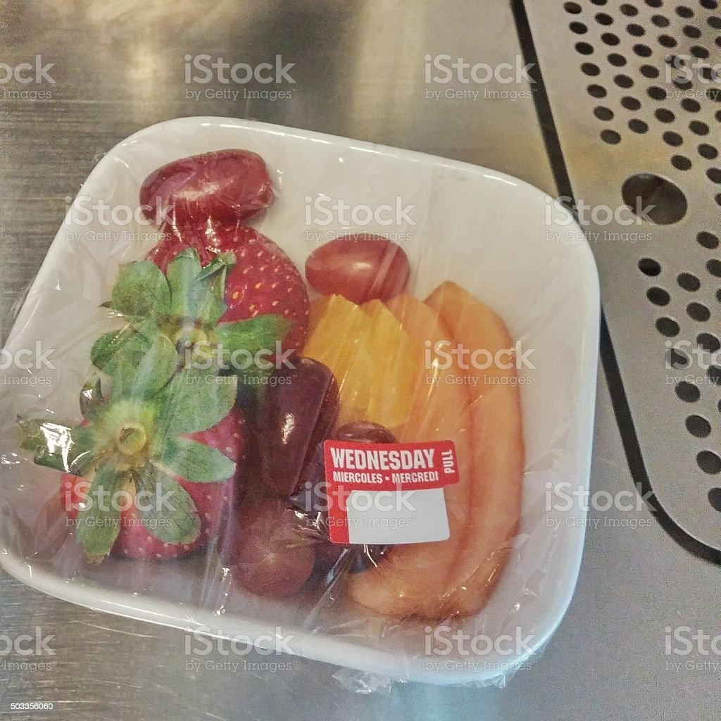 Airline First Class Continental Breakfast Fresh Fruit Bowl stock photo
