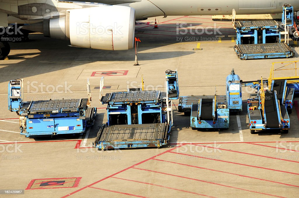 Airline Industry - Portable Conveyer Belts royalty-free stock photo