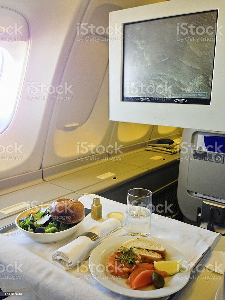 Airline Lunch served during long distance flight royalty-free stock photo