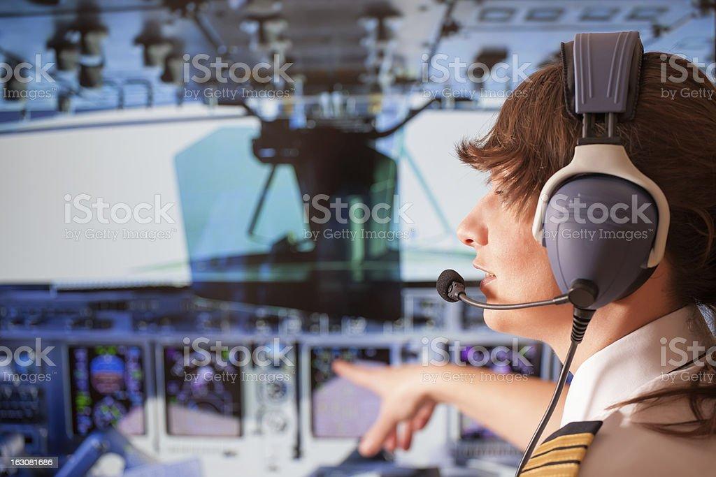Airline pilot stock photo