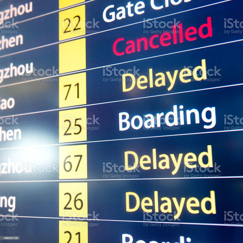 Airline schedule monitors stock photo