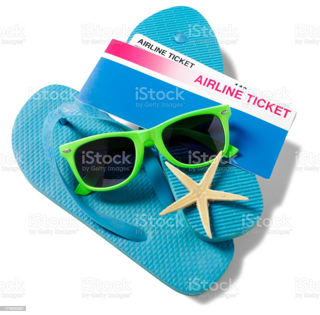Airline Ticket with Flip Flops and Sunglasses royalty-free stock photo