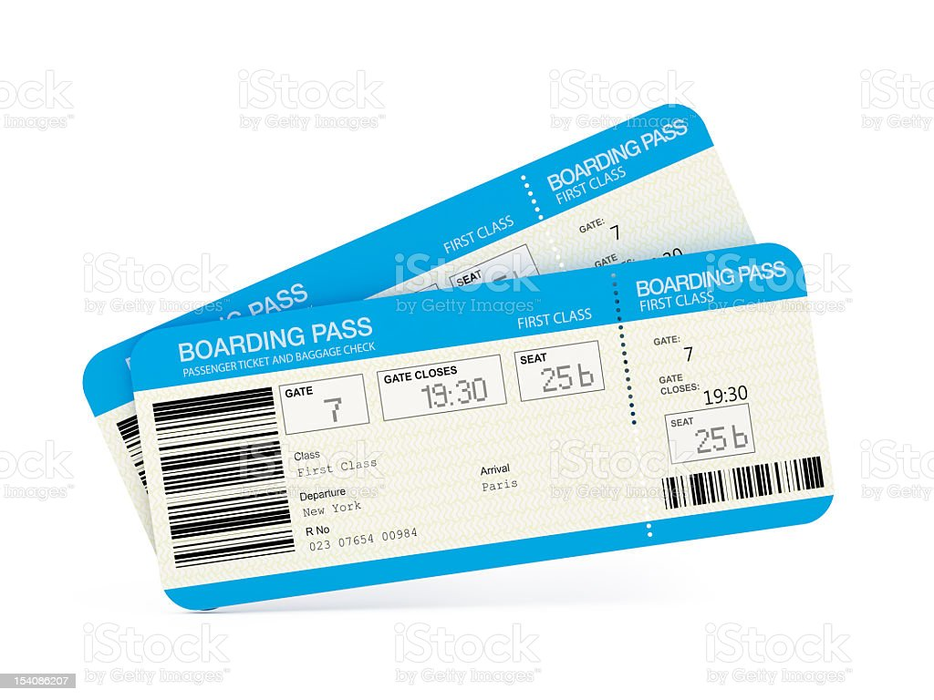 Airline tickets stock photo