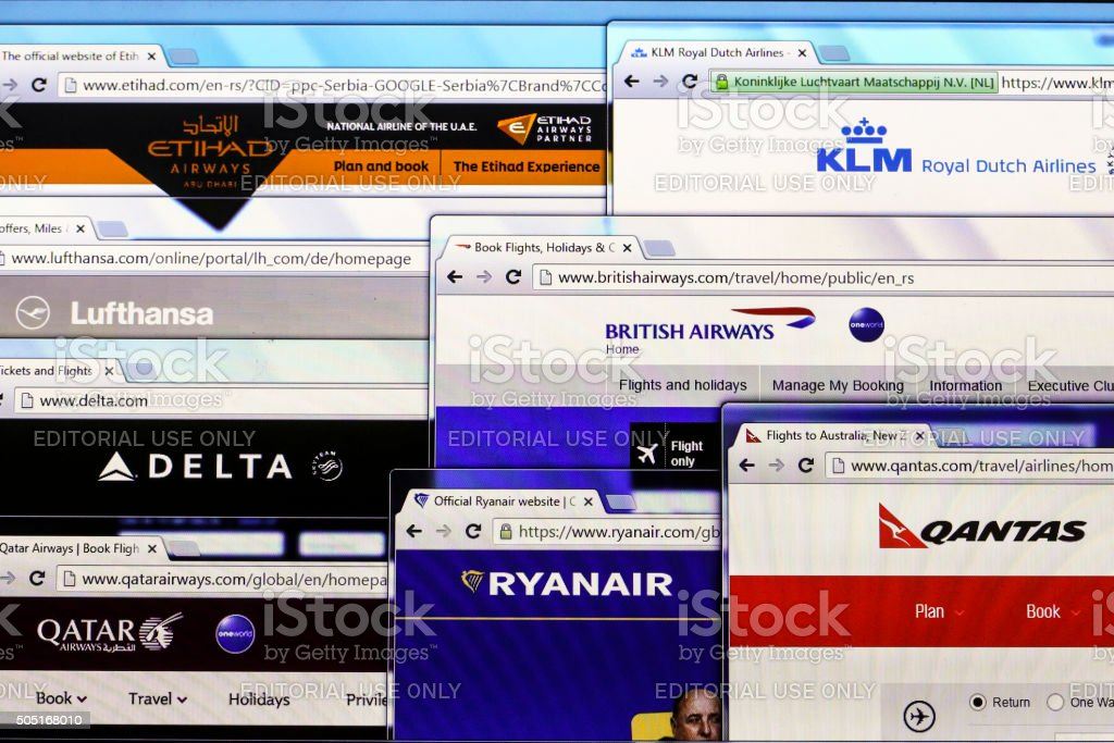 Airline websites stock photo