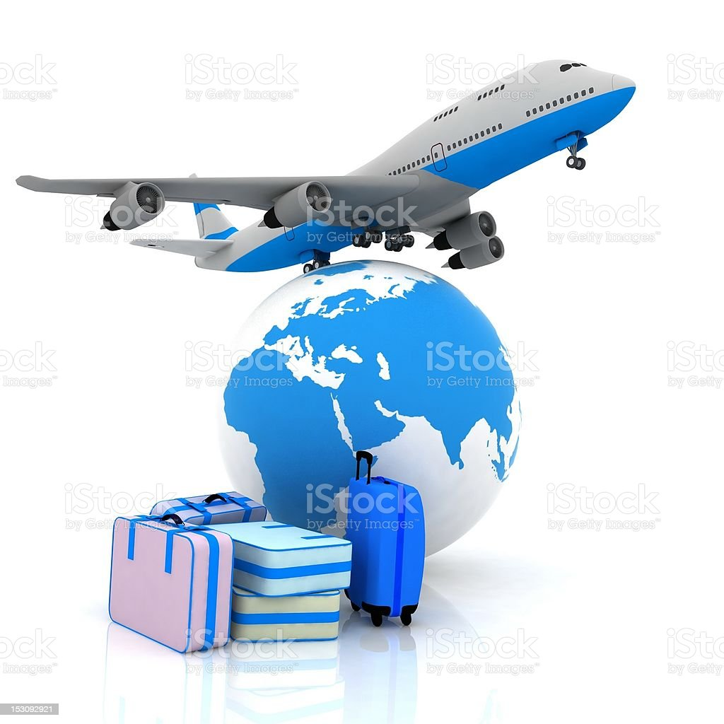 airliner and suitcases royalty-free stock photo