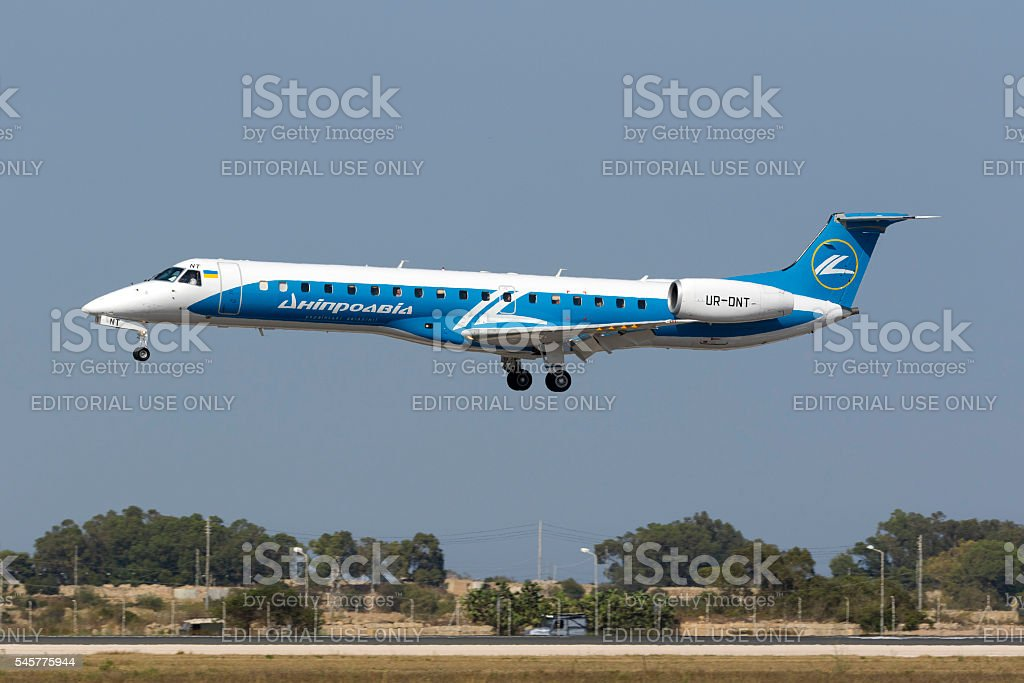 Airliner arriving from Ukraine stock photo