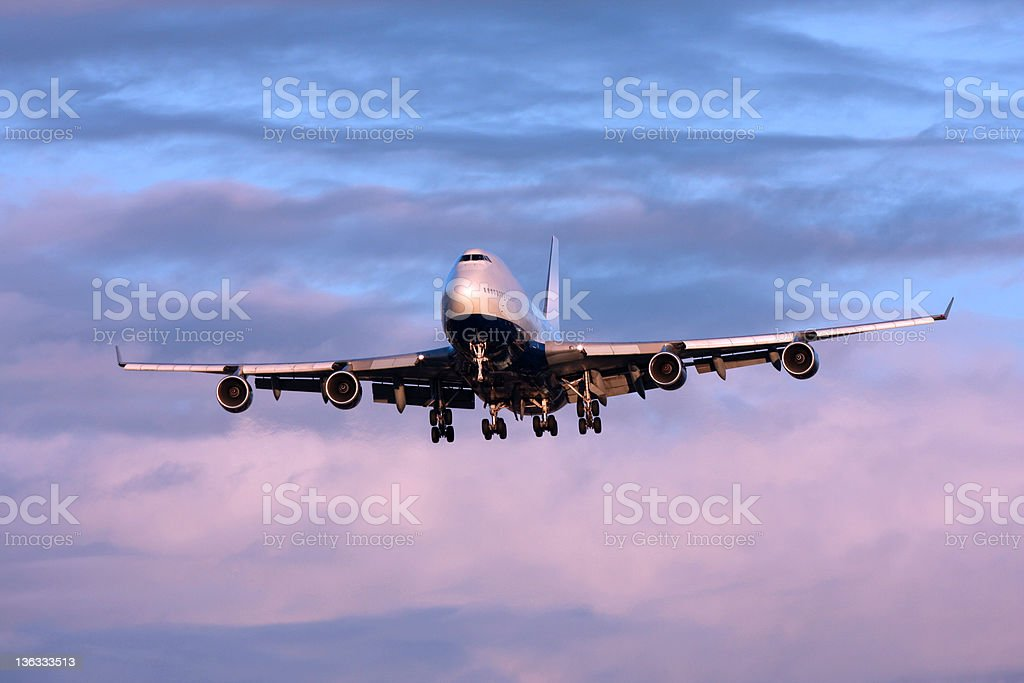 Airliner at Dusk stock photo